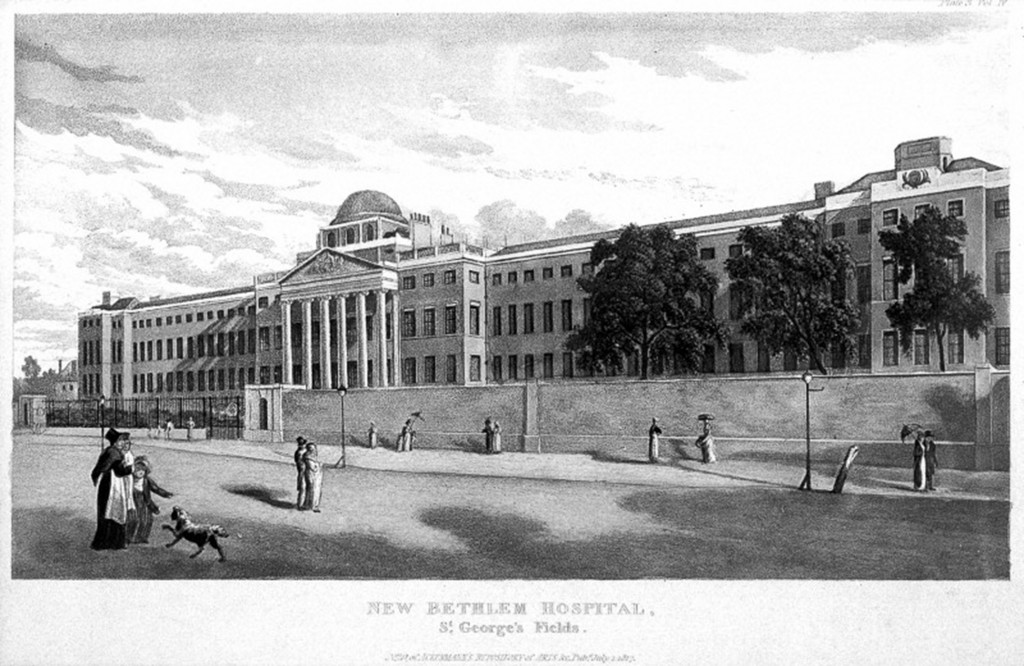 L0007546 New Bethlem Hospital, St. George's Fields, London, 1817 Credit: Wellcome Library, London. Wellcome Images images@wellcome.ac.uk http://images.wellcome.ac.uk New Bethlem Hospital, St. George's Fields, London 1817 Repositary of arts R. Ackerman Published: 1817 Copyrighted work available under Creative Commons by-nc 2.0 UK, see http://images.wellcome.ac.uk/indexplus/page/Prices.html