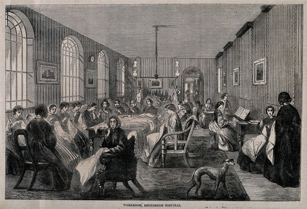 V0013741 The Hospital of Bethlem [Bedlam], St. George's Fields, Lambe Credit: Wellcome Library, London. Wellcome Images images@wellcome.ac.uk http://images.wellcome.ac.uk The Hospital of Bethlem [Bedlam], St. George's Fields, Lambeth: the female workroom. Wood engraving probably by F. Vizetelly after F. Palmer, 1860. 1860 By: F. Palmerafter: Frederick VizetellyPublished: - Copyrighted work available under Creative Commons by-nc 2.0 UK, see http://images.wellcome.ac.uk/indexplus/page/Prices.html