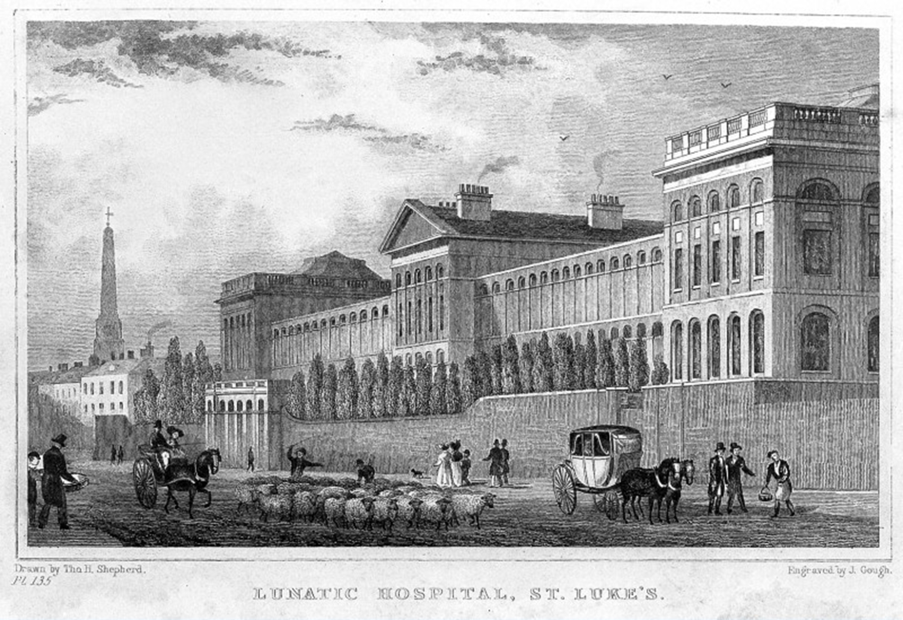 L0002973 St. Luke's Lunatic Asylum. 2nd Hospital 1787. Credit: Wellcome Library, London. Wellcome Images images@wellcome.ac.uk http://images.wellcome.ac.uk St. Luke's Lunatic Asylum. 2nd Hospital 1787. Engraving By: J. Goughafter: Tho. H. ShepherdPublished: - Copyrighted work available under Creative Commons by-nc 2.0 UK, see http://images.wellcome.ac.uk/indexplus/page/Prices.html