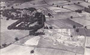 Aerial view of hospital site with main building to left middleground and the carleton clinic to right foreground.