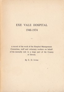 'Exe Vale Hospital 1948-1974' by E.D. Irvine