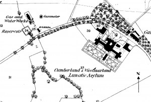 Ordnance survey map of asylum site as originally designed.