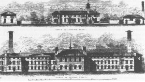 Views of front (top) and rear (bottom) elevations as planned by Thomas Worthington.